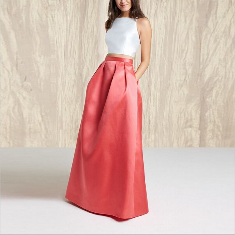 Chic Fashion Red Elegant Long Taffeta Skirt Winter Autumn Spring ...