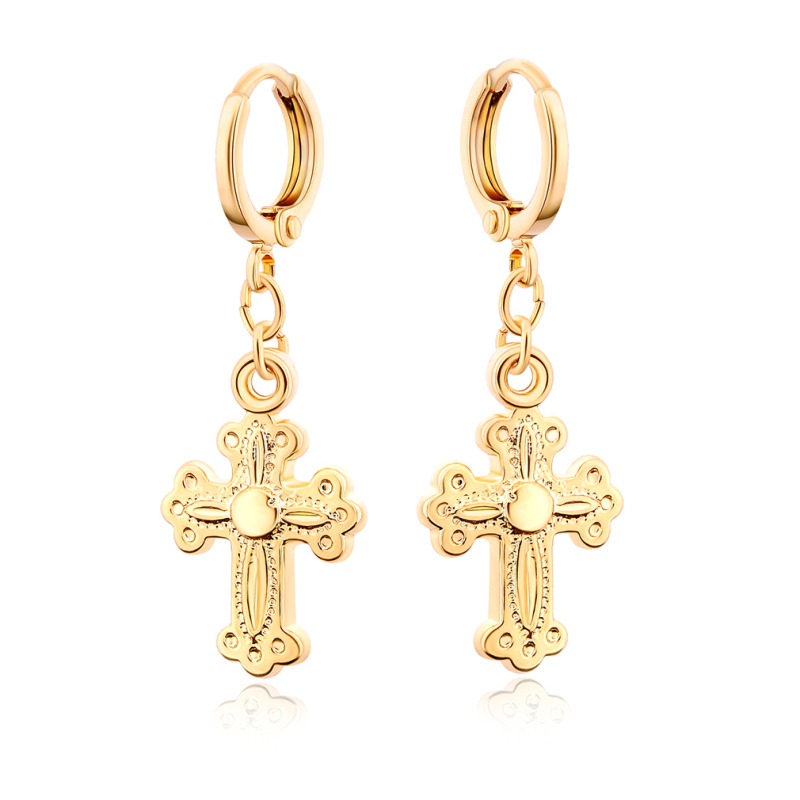≧Yellow Gold Color Christian Jesus Crucifix Cross Hoop Earrings for ...