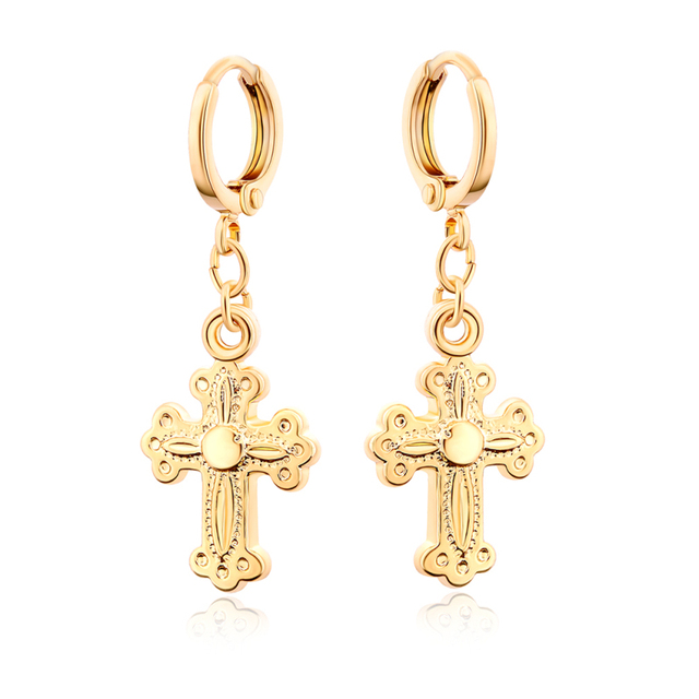 Yellow Gold Color Crucifix Cross Hoop Earrings For Women Fashion Party Costume Jewelry Christmas