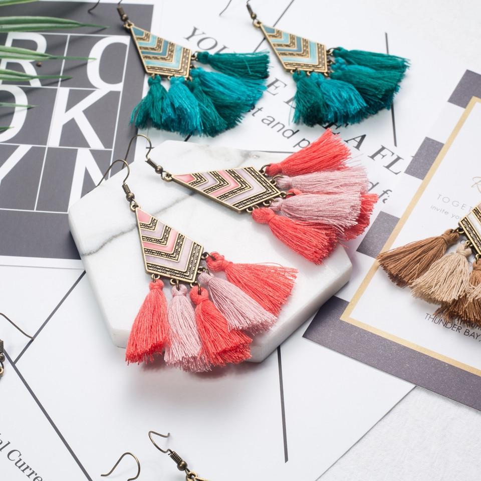 Groothandel 2017 Fashion Bohemian Etnische Verklaring Dangle Fringe Tassel Drop Oorbellen Opknoping voor Vrouwen Bruiloft Sieraden