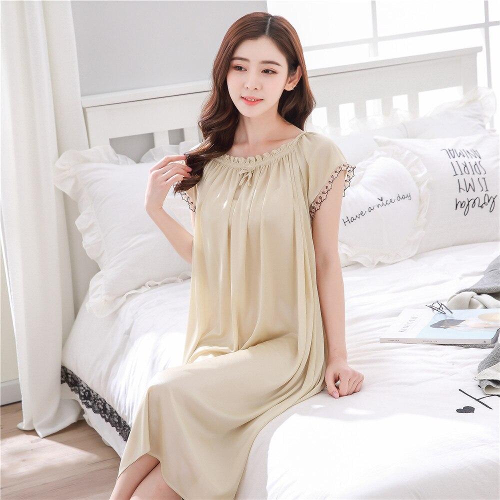 2018 O Neck Women Satin Nightgown Sexy Lace Sleepwear Short Sleeve Ladies Silk Nightwear Sleep Wear Night Gown Lingerie Dress