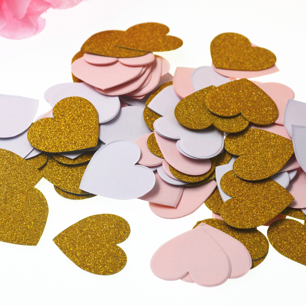biodgradables cofitte rose or blanc amour coeur papier confettis de mariage partie confettis dcoration de table - Bon De Reduction Decoration De Mariage