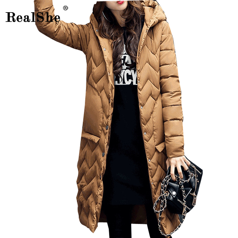 RealShe Winter Wavy Lines Hooded Long Down Jacket Women Single Breasted Pocket Design Coat Cotton Plus Size Thickening Jacket куртка женская oakley lines jacket purple shade