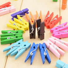 Pegs-Clothes Spring-Clips Craft Paper Photo-Hanging Wooden 35mm Home 20pcs-Color Wedding