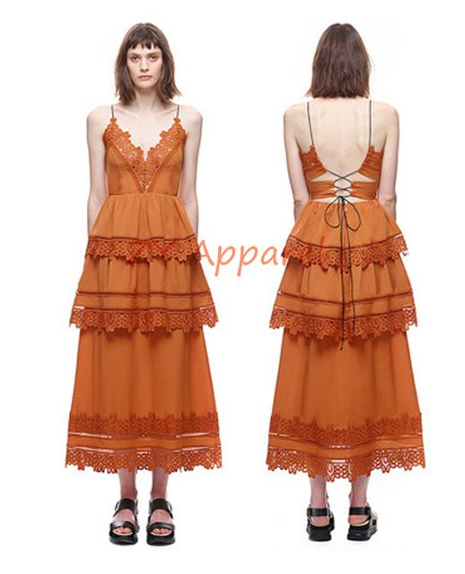 e72799c3bc20 Vestidos New 2016 self portrait Orange Ivy Lace Trim Midi Tiered Long Maxi  Dress Strap Strappy Back Detail Free Shipping