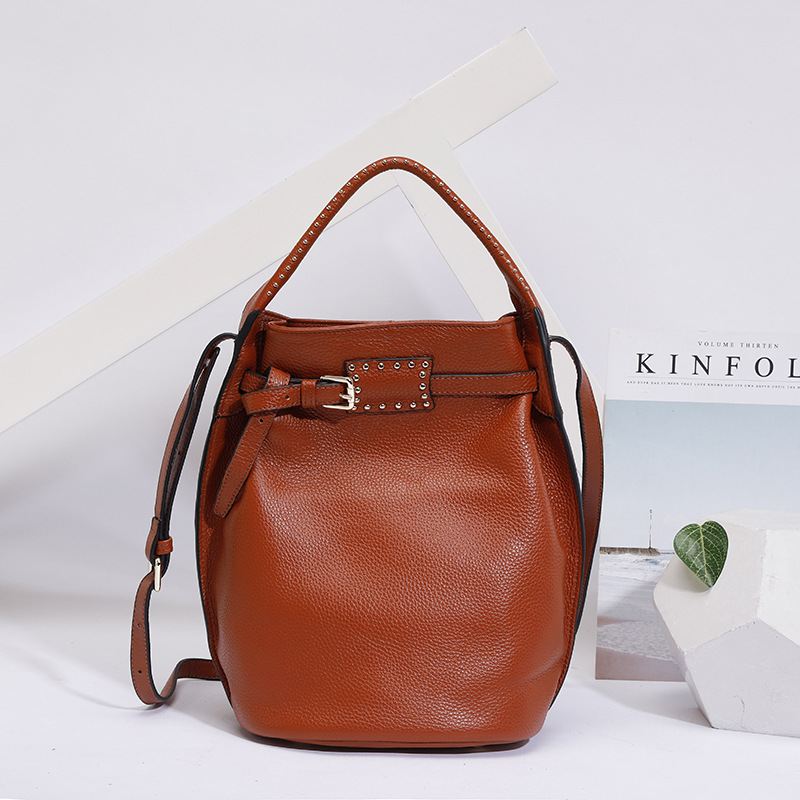 Genuine Leather Women Bag Fashion Large Crossbody bags for women Shoulder Bag Luxury Female Tote Bucket Bags Handbags sac a main new korean tassels bead soft super fiber leather bucket bag composit bags for women tote crossbody shoulder bags clutch 202