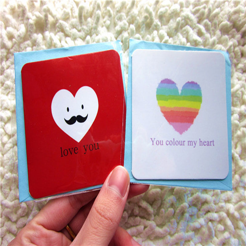 24pcs Mini Kawaii Greeting Card Birthday Love Writing Blessing Cards Festival Gift Simple Paper Card+Envelop 7*7cm Cartoon Cards