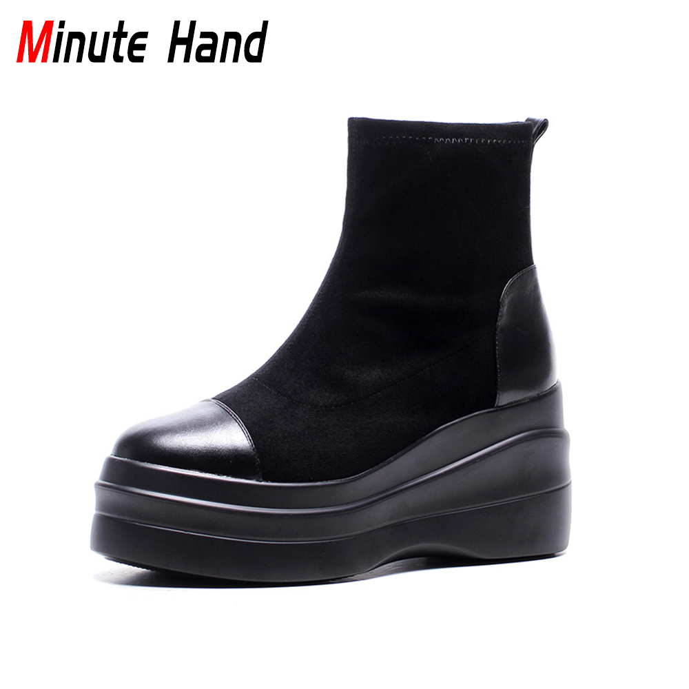 Minute Hand 2018 New Fashion Genuine Leather Ankle Boots For Women Casual Wedges Slip On Shoes Female High Heels Platform Boots platform women boots 2016 fashion casual shoes woman ankle boots slip on flats autumn spring wedges women shoes xwc831