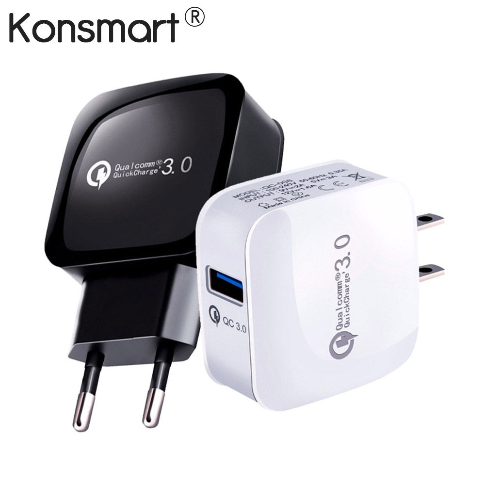 Quick Charge 3.0 15W Travel Wall Fast Charger For Xiaomi Redmi Note 5 6 pro For iphone X XS Samsung Huawei Mobile Phone KONSMART