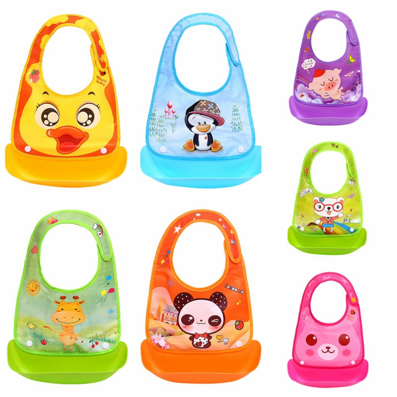 Silicone Baby Bibs Lovely Animals Meals Pocket Bib Waterproof Feeding Newborn Infant Food Bib Adjustable