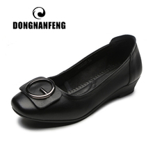 DONGNANFENG Women Female Old Mother Ladies Shoes Flats Slip On Cow Genuine Leather Breathable Soft Spring Size 35-41 LLTS-8868