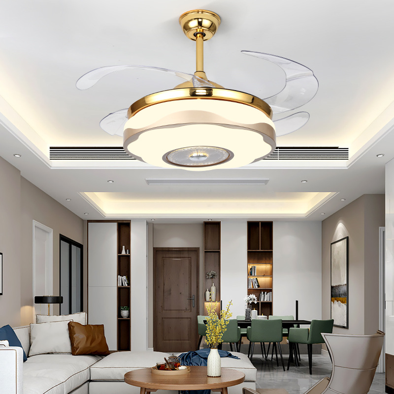 купить LukLoy Invisible Ceiling Fan Light Restaurant Bedroom Living Room Acrylic Fan Light Hotel Export LED Simple Modern Electric Lamp онлайн