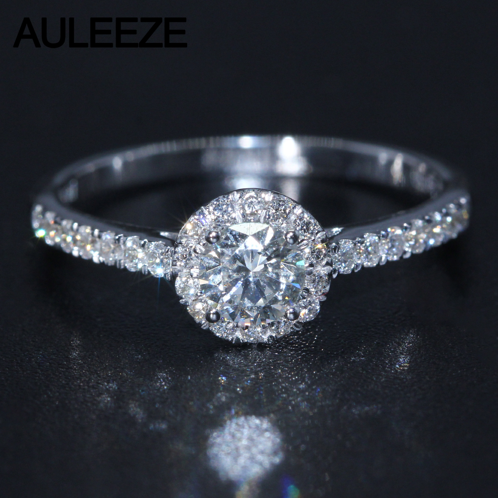 Halo 0.3CT Moissanite Engagement Ring 925 Sterling Silver Jewelry Lab Grown Diamond Wedding Rings For Women Silver Jewelry transgems 1 3ctw princess cut lab grown moissanite diamond engagement wedding ring platinum plated 925 sterling silver
