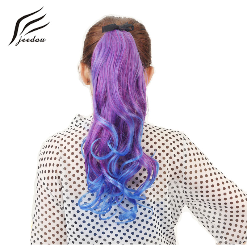 Jeedou Night Club Party Ponytails Wavy Hair 50cm 95g Synthetic Peuple Pink Red Ombre Color Cosplay Ribbon Drawstring Ponytail