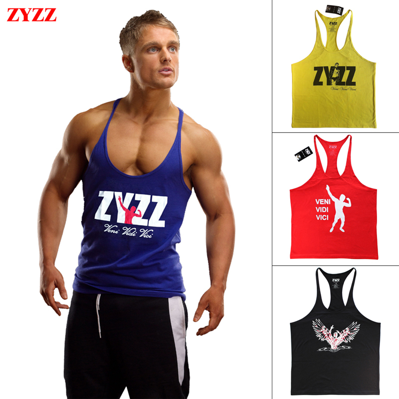 7fae457ec2b42 Tank Top Men ZYZZ Fitness Singlets Bodybuilding Stringer Gyms Clothing Muscle  Shirt Vest Sportwear Workout