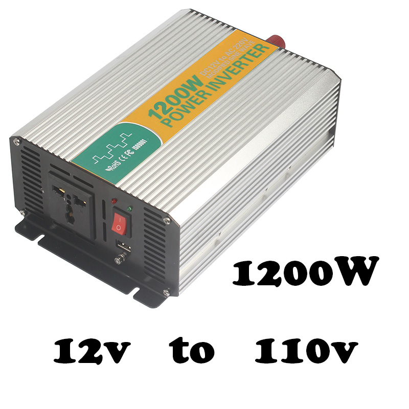 цена на 1200W 12v to 110V power inverter,safe power inverter for home made in china modified sine wave 12v to 110v inverter 1200w