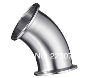 New arrival  Stainless Steel SS304 quick install connector OD 51mm Sanitary Elbow Pipe Fitting 45 Degree 2 pcs/lot 3 4 19mm od sanitary weld elbow pipe fitting 90 degree pipe fittings stainless steel ss316