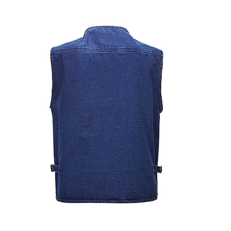 b men Oversize S 5XL Denim Vests Men Cotton Multi Pocket Jean Jacket Male Brand Military Waistcoat masculina jaquetas in Vests amp Waistcoats from Men 39 s Clothing