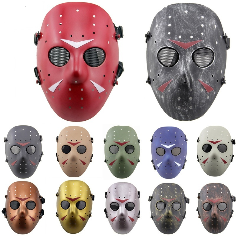 DC18 Jason Hockey Full Face Metal Mesh Airsoft Mask Paintbal CS Wargame Halloween Party Military Tactical Soft Air Mask