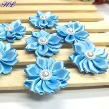 20pcs 35mm Satin ribbon flowers with pearl handmade sewing appliques apparel accessories A120