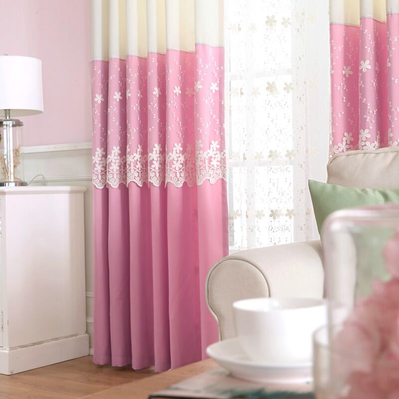 Hot Sale! Korean and Modern Pink Stitching Curtains For Princess ...