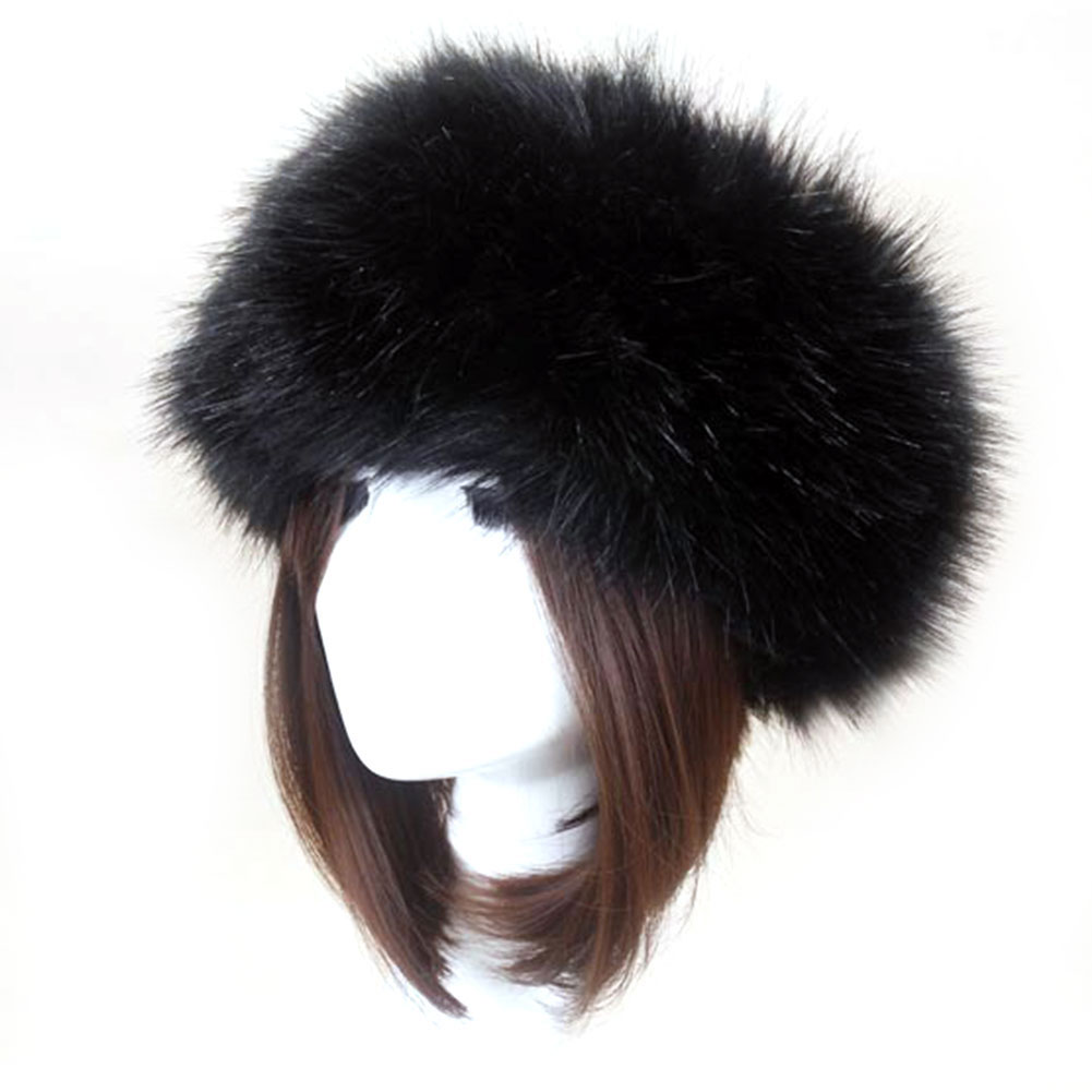Winter Thick Furry Hairband Fluffy Russian Faux Fur Women Girl Fur Headband Hat Winter Outdoor Earwarmer Ski Hats Hair Accessory