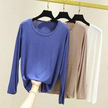 купить womens top  Long sleeve O-neck t shirt all match t shirt women bts Solid color дешево