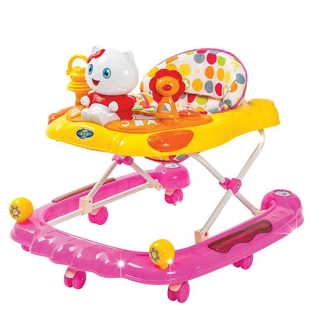 Nuevo Llega El Bebé de La Música Andador Multifuncional de Seguridad Placa Anti Vuelco U Tipo Plegable Fácil Grande Chassi Scooter de Bebé