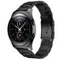Pulseiras preto 17 cm de aço inoxidável watch band + para samsung galaxy gear s2 classic sm-r732 substituição watch band strap