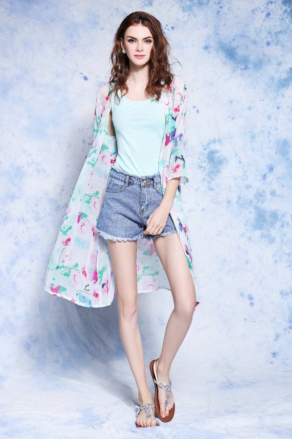 Women Summer Style Chiffon Half Sleeve Vintage Floral Printed kimono Beach Cover Up Cardigan Casual Blusas Tops