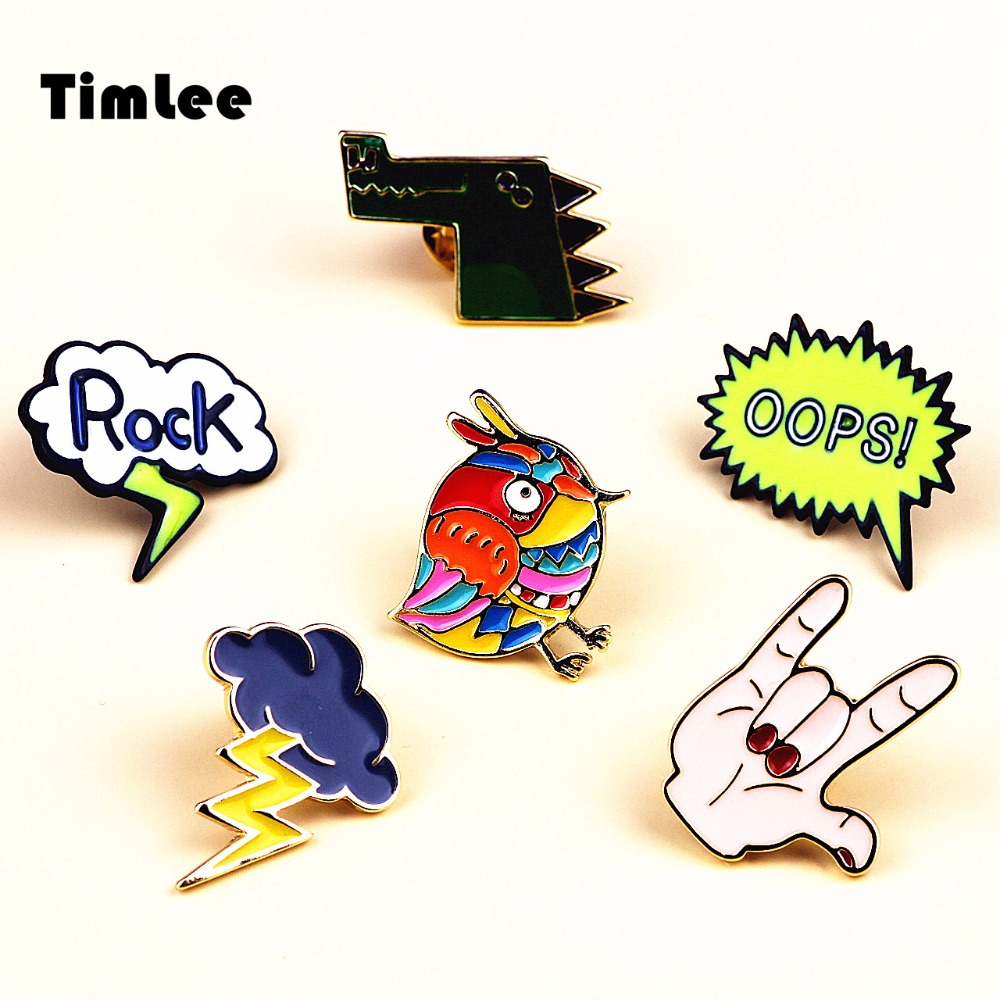 Timlee X246 Cartoon Rock Hand Emalj Pins Färgglada Bird Lightning Cloud Crocodile Animal Metal Brosch Pins Gift Wholesale
