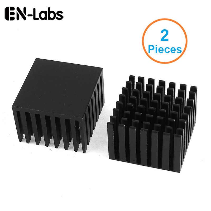 En Labs 2 Pcs Anodized Hitam Aluminium Heatsink 28X28X20 Mm Elektronik Pendingin Radiator Heat Sink untuk Northbridge Southbridge Chip