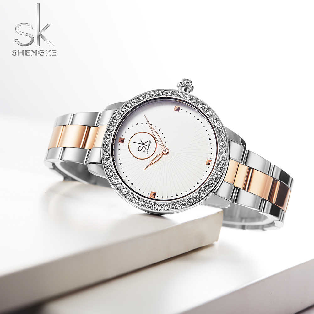 SHENGKE Women Dress Watch Rhinestone Gold SILVER Stainless Steel Casual Business Lady Quartz Wristwatch Luxury Girls Gift Clock