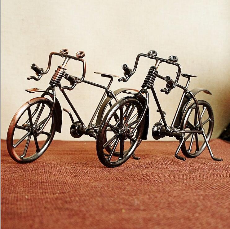 2018 Retro metalo bronzos dviračių modelis rankų amatų dviračių figūrėlė tėvams Nostalginė dovana Boss Home Decoration suvenyras