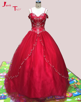 Jark Tozr Spaghetti Strap Lace Up Beading Crystal Red Orange Dark Turquoise Organza Quinceanera Dresses 2017