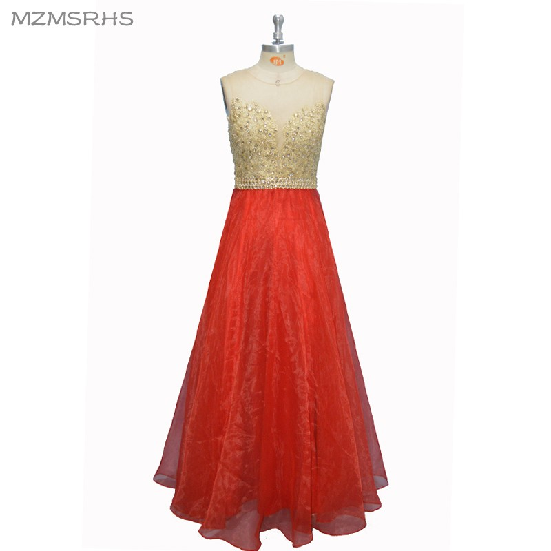 Sexy See Through Back Lace Prom Dresses Long 2017 Red Organza - Vestidos para ocasiones especiales