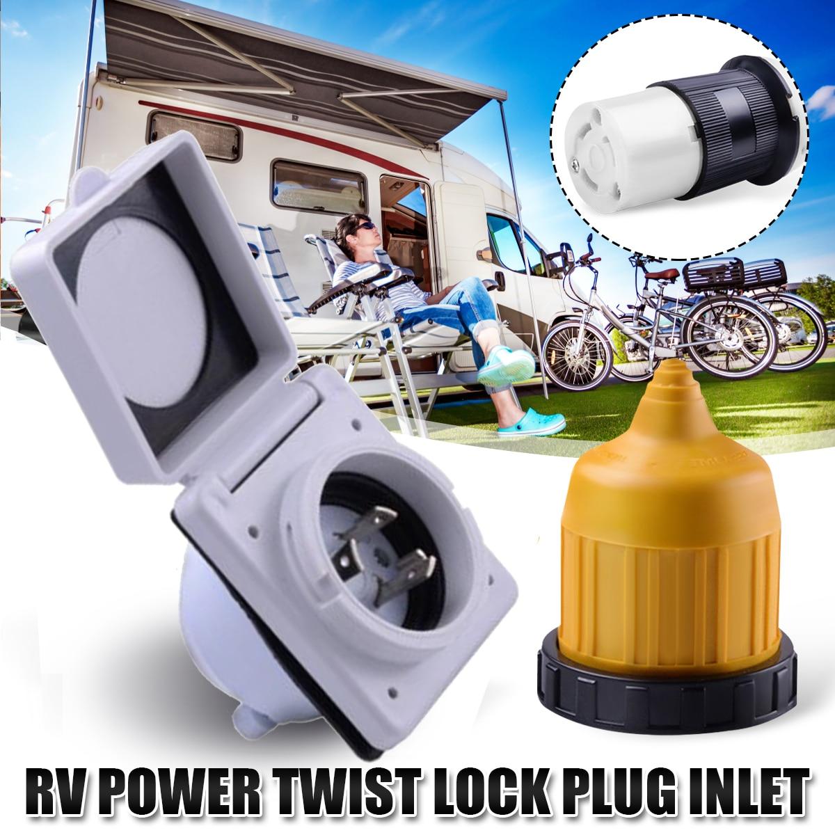 RV Verrouillage Électrique Plug Inlet 30amp 125 V Femelle De Verrouillage Connecteur avec Couvercle pour voiture de tourisme pour Bateau RV Entrée Marine