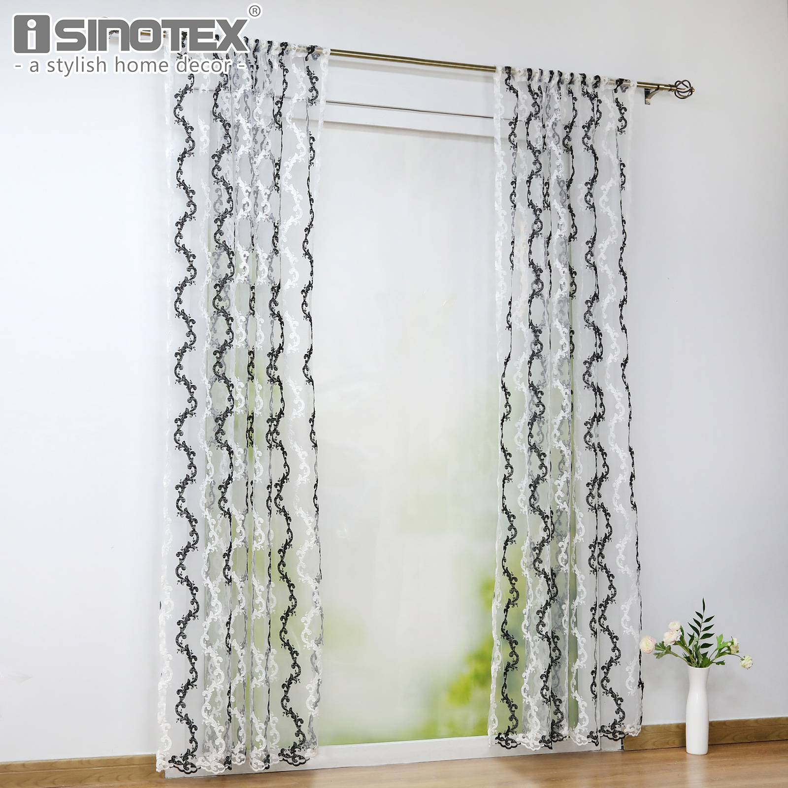 Black White Embroidery Window Screening Curtain Tulle Home ...
