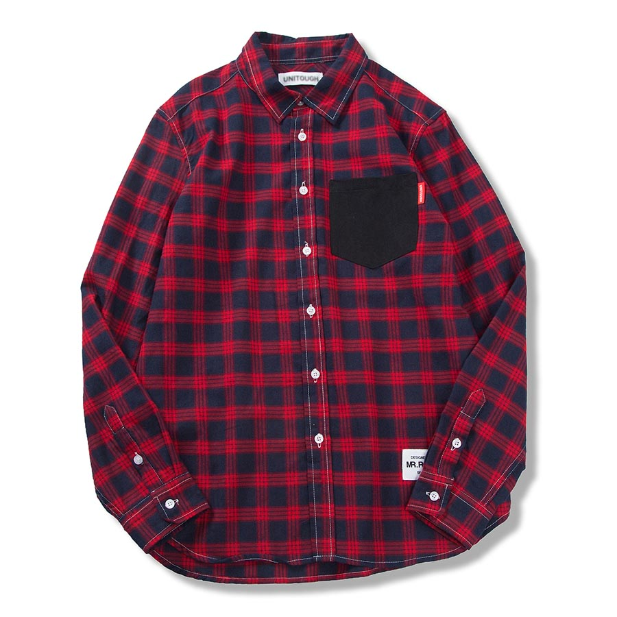 Oversized Casual Shirt Men Long Sleeves Plaid Patchwork Mens Shirts Punk Rave Red Checkered Shirt Desinger Chemise Homme 5C011