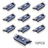 10pcs Nano 3.0 ATmega328P Controlador Compatible Con For Arduino NANO CH340 Turno USB Controlador CABLE V3.0 NANO