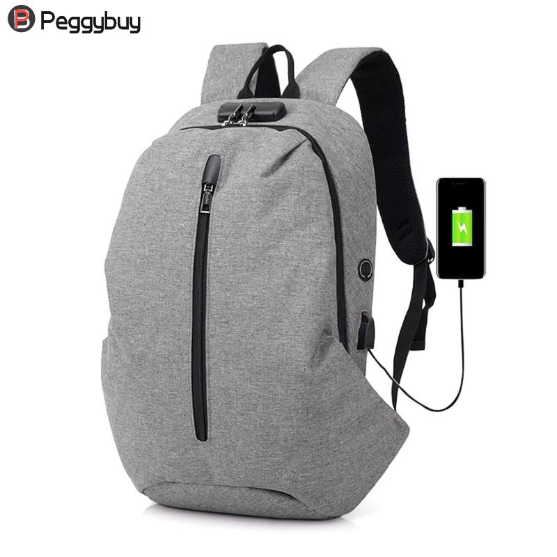 Fashion Mens Backpacks Casual Men Business USB Charging Laptop Backpacks Zipper Travel Shoulder Bag Large Capacity Rucksack