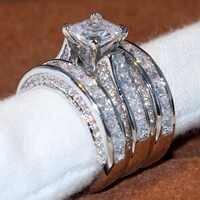 2017 Top Vente De Bijoux De Luxe 14KT Or Blanc Rempli Princesse Coupe 5A Clair CZ Zircone Femmes Parti Mariage 3 pièces Bague Ensemble Cadeau