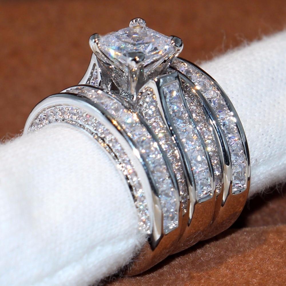 2017 Top Vente De Luxe Bijoux EN Or Blanc 14KT Rempli Princesse Cut 5A Clair CZ Zircon Parti Femmes De Mariage 3 pcs Anneau Ensemble Cadeau