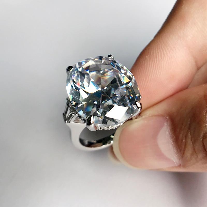 LESF 925 argent Sterling 8.3 ct ovale taille unique pierre étincelante SONA diamant pour les femmes bagues de mariage bijoux de fiançailles - 5
