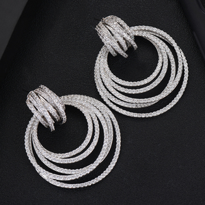 Image 5 - GODKI luksusowe Twist koło Dangle kolczyki dla kobiet ślubne sześciennych cyrkon kryształ CZ Dubai Bridal kolczyk moda biżuteria 2019