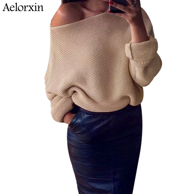 Aelorxin Autumn Off Shoulder Sweater Women 2017 Knitted Women Sweaters and Pullovers Solid Jumper Winter Christmas Sweater S-XL