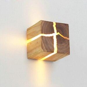 Image 2 - 유럽 스타일 아트 장식 LED 벽 램프 침실 머리맡 통로 실내 홈 전등 G4 나무 벽 램프 거실
