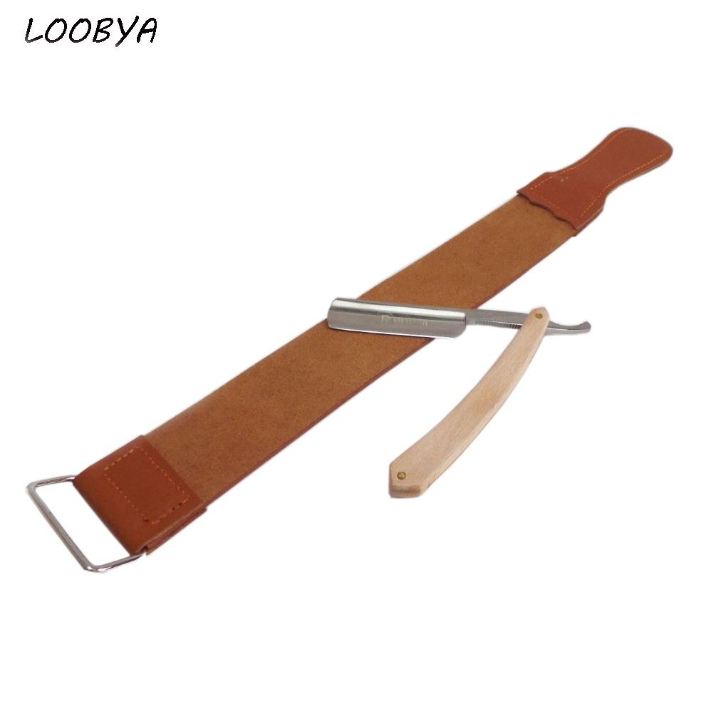 Leather Strop Sharpener Strop with Shaving Safety Razor Folding Barber Knife with Wood Handle