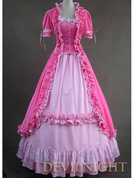 Sweet Pink Short Sleeves Gothic Victorian Lolita Dress