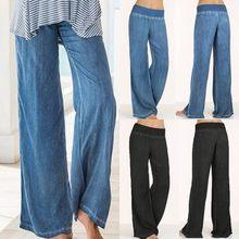 Celmia 2018 Plus La Taille Femmes Pantalon Large Jambe Pantalon Haute taille  Palazzo Pantalon Denim Bleu b6b1d153f17